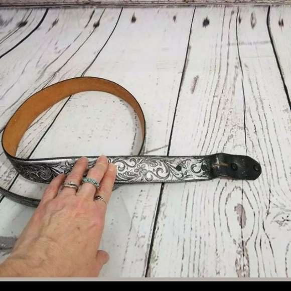 Justin Boots Accessories - 2/$15 Justin  Belt Silver Metallic tooled snap 34